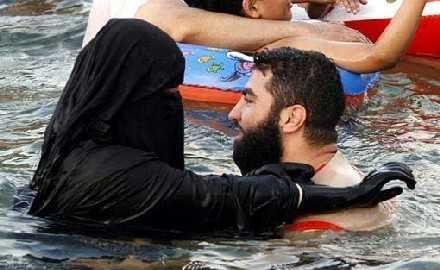 Badende Muslima